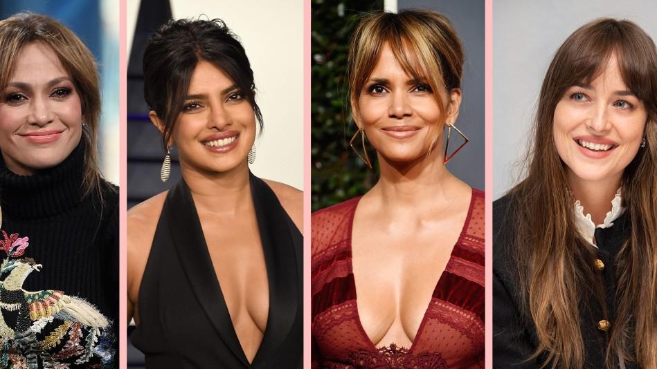 Celebrities sporting curtain bangs