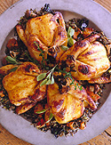 Cornish Game Hens with Mushroom-Rice Stuffing