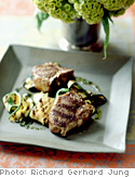 Grilled Lamb Chops and Zucchini with Mint