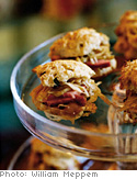 Herbed Drop Biscuits with Ham and Cabbage Slaw