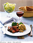 Barley Risotto with Mushrooms and Tenderloin of Beef