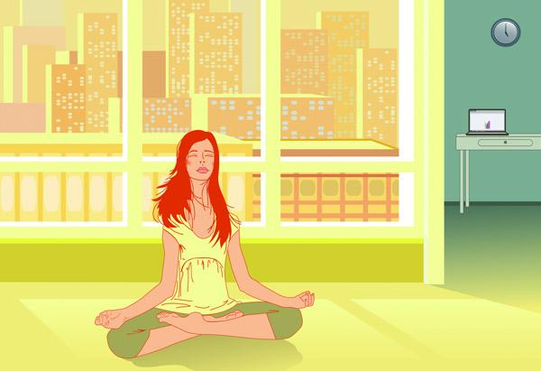 Illustration of woman meditating