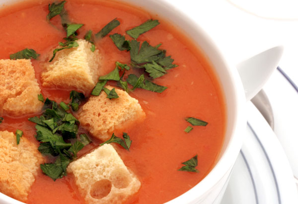 Tomato Soup with Toasted Cheese Croutons