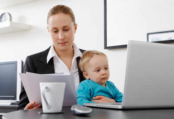 Working Woman and Baby