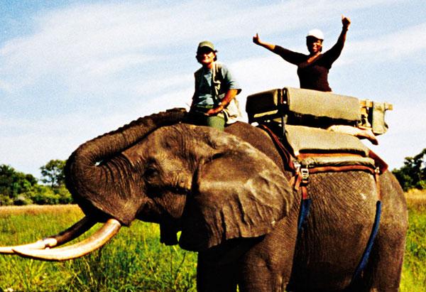 Oprah on safari in Botswana, December 2000