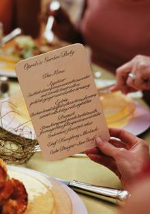 Oprah's garden party menu