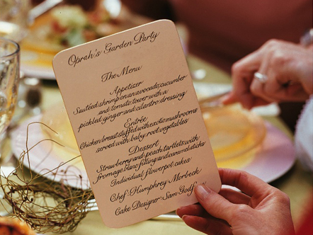 Oprah's garden party menu