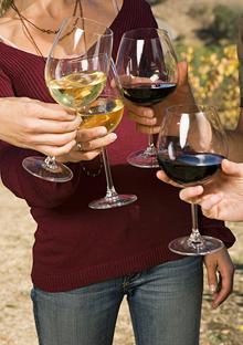 Wine glassing toasting