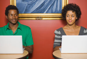 Online dating man and woman