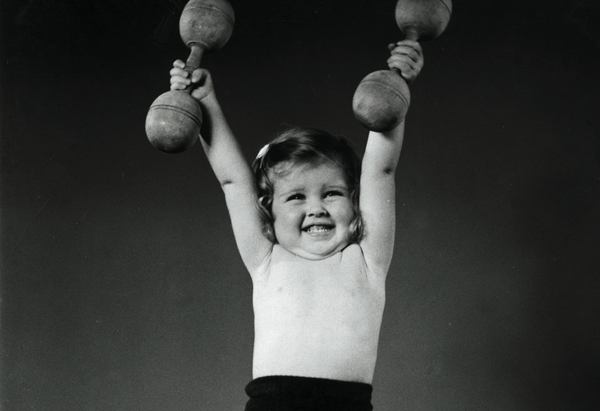Little Girl Lifting Weights