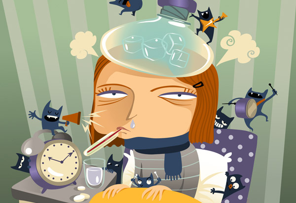 Illustration of sick woman