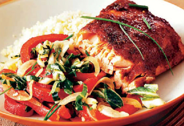 Dry-Rub Barbecued Fillet of Salmon with Bok Choy Salad