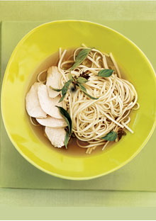 Poached chicken with noodles