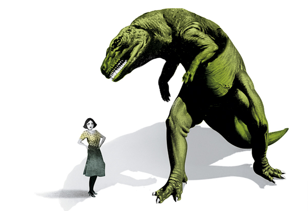 Woman and Dinosaur