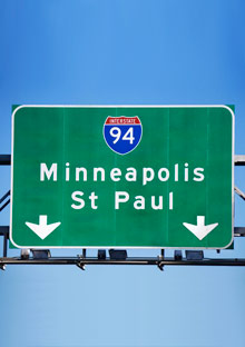 Twin Cities road sign