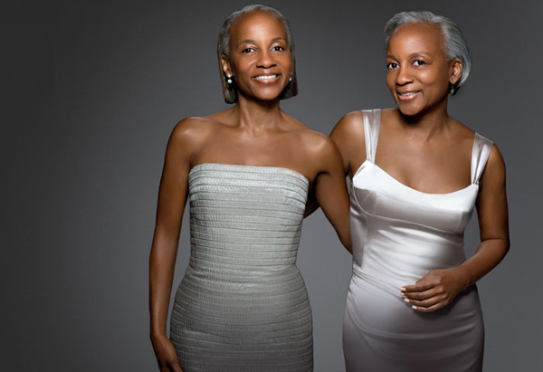 Twins get gray hair transformations.