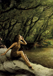 Woman yelling in jungle