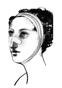 Illustration of woman with bandages