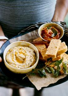 Aleppo Meali Bread with Hummus and Tomato Chutney