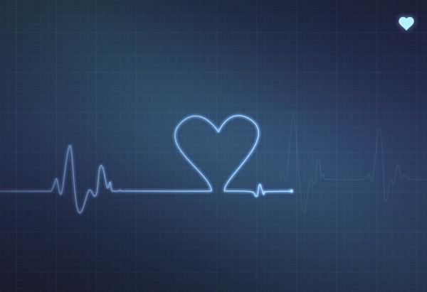 Heart shape on medical monitor