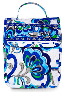Blue floral-print lunch box