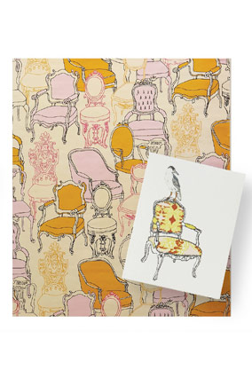 Chairs wrapping paper and card