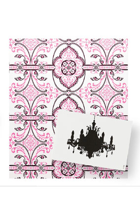Damask wrapping paper and chandelier card