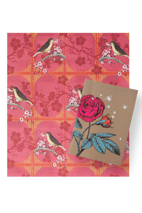 Bird and blossom wrapping paper and flower card