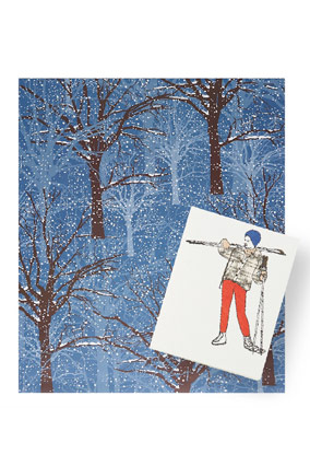 Snow giftwrap and skier card