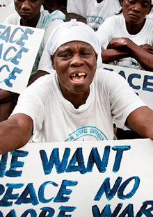 Demonstrating for peace in Monrovia in 2003.