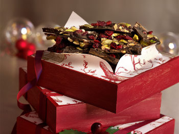 Dark Chocolate Bark with Pistachios, Sweetened Dried Cherries, and Pumpkin Seeds