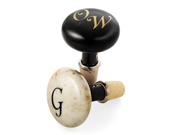 Monogrammed bottle stoppers