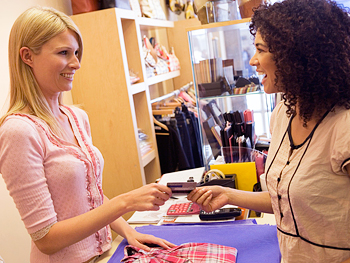 Saleswoman and customer