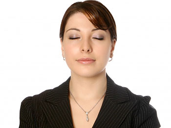 Woman focused on breathing