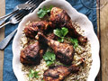Roast Chicken Legs with Harissa and Couscous