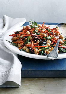 Chickpea, Carrot, and Olive Salad with Cumin Vinaigrette