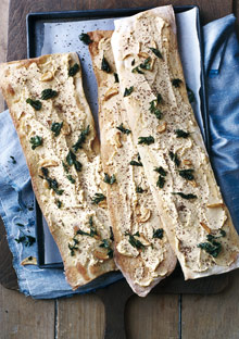 Flatbread with Chickpea Puree, Garlic, and Parsley