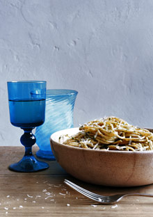 Whole Wheat Spaghetti with Caper Pesto Sauce