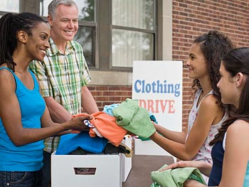Woman donating clothing