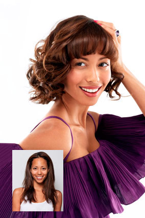 How to short curly hairstyles with straight bangs pictures