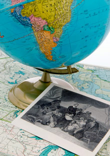 Globe and a historical photograph