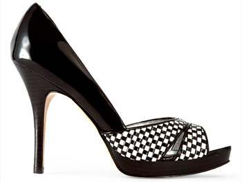 Marc Fisher black-and-white peep-toe shoes