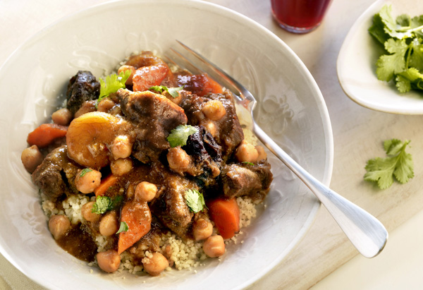 Moroccan Lamb Stew with Chickpeas and Prunes