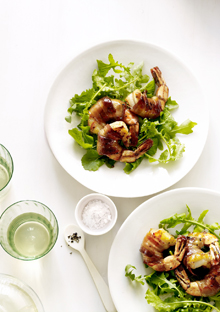 Arugula Salad with Honey-Glazed, Bacon-Wrapped Shrimp