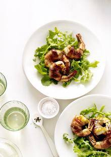 Arugula Salad with Honey-Glazed, Bacon-Wrapped Shrimp