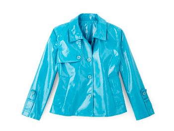 Irene Allison blue raincoat