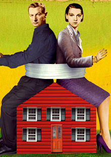 Couple sitting on a house