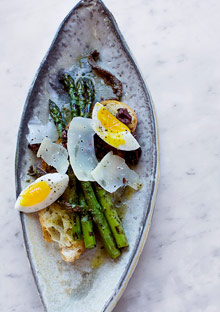 Asparagus with Farm-Fresh Eggs and Dry Jack Cheese