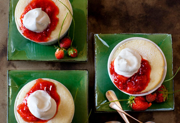 Pudding Cakes with Chantilly Cream and Berries