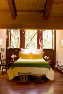 Chef Cindy Pawlcyn's bedroom in her Napa Valley home